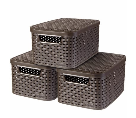 Curver Cajas de almacenaje con tapa Style 3 unidades S marrón 240646[2/2]