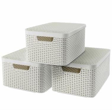 Curver Cajas de almacenaje con tapa Style 3 unidades M blanco 240654[1/2]
