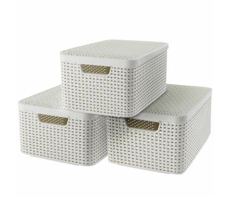 Curver Cajas de almacenaje con tapa Style 3 unidades M blanco 240654[2/2]