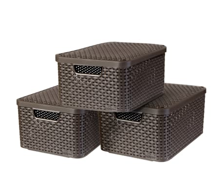 Curver Style Storage Box With Lid 3 Pcs Size M Brown