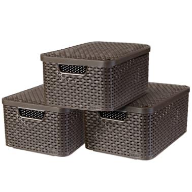 Curver Cajas de almacenaje con tapa Style 3 unidades M marrón 240655[1/2]