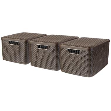 Curver Cajas de almacenaje con tapa Style 3 unidades L marrón 240651[1/2]