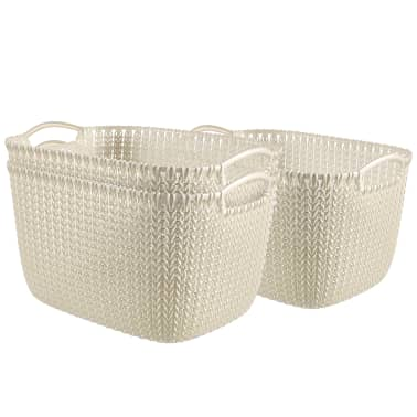Curver Cestas rectangulares Knit 3 unidades tamaño L blanco 240628[1/2]