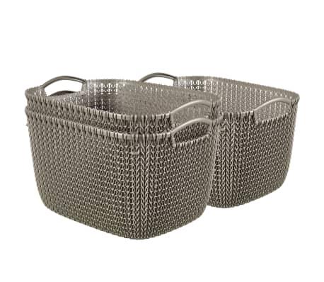 Curver Cestas rectangulares Knit 3 uds tamaño L marrón 240647[1/2]