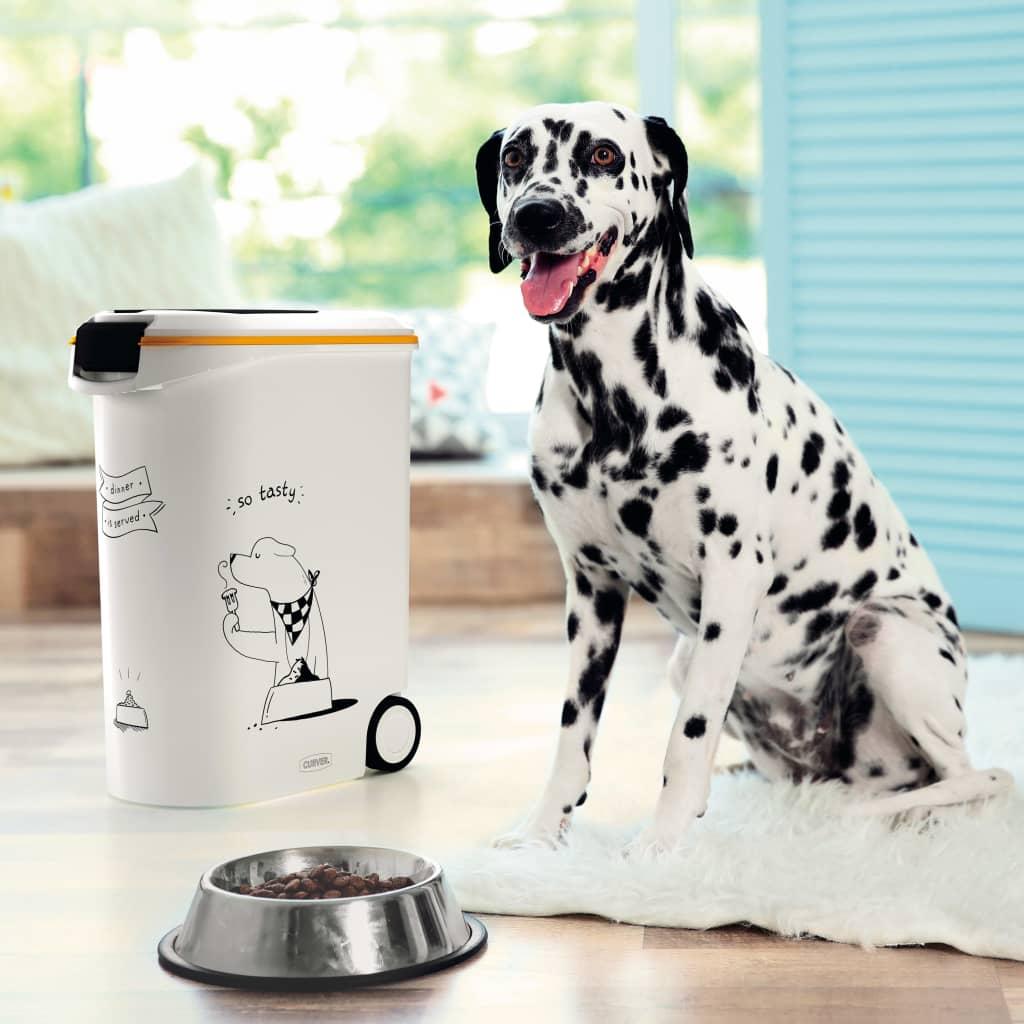Curver Recipient hrană animale Dinner is Served, câine, cu roți, 54 L poza vidaxl.ro