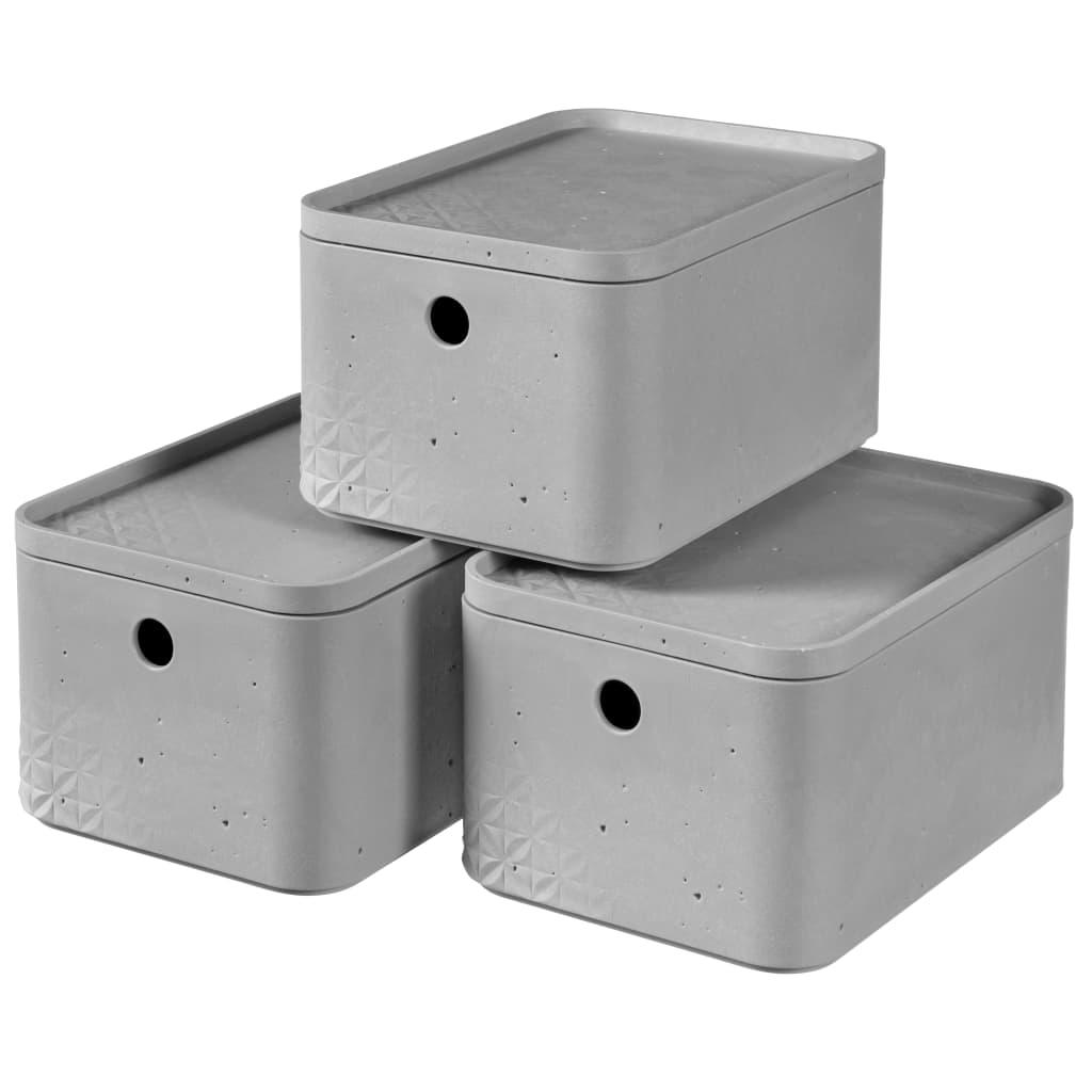 Curver Set cutii depozitare Beton, 3 piese, gri deschis, cu capac, S vidaxl.ro