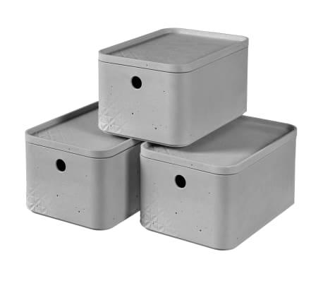 Curver Úložné boxy s poklopmi Beton 3 ks veľkosť S bledosivé