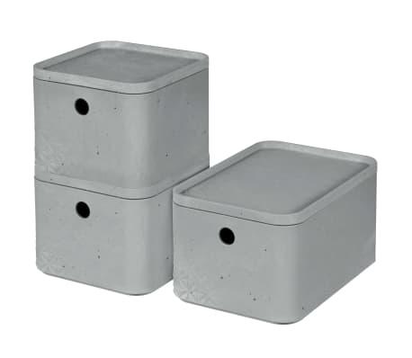 Curver Cajas de almacenaje con tapa Beton 3 piezas S+M gris claro