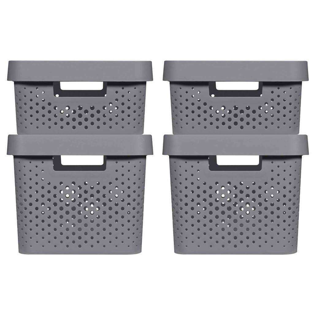 Curver Set cutii depozitare Infinity 4 buc. antracit, cu capac 11L+17L vidaxl.ro