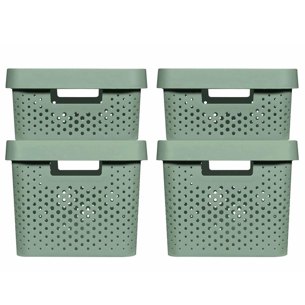 Curver Set cutii depozitare Infinity, 4 buc., verde, cu capac, 11L+17L poza vidaxl.ro