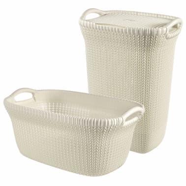 Curver Cesto de ropa sucia y de colada Knit blanco 97 L 240685[1/2]