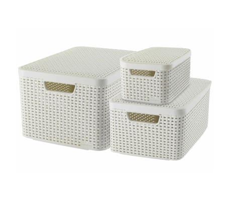 Curver Cestas de almacenaje con tapa Style 3 unidades blanca 240652[1/2]