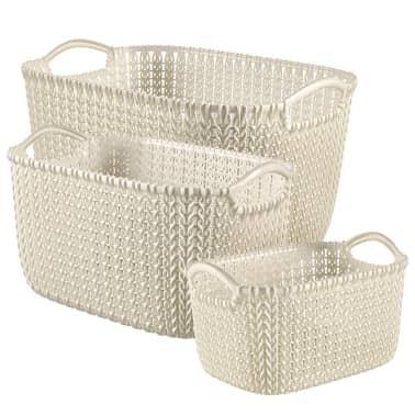 Curver Juego de cestas Knit 3 unidades blancas 240648[1/2]