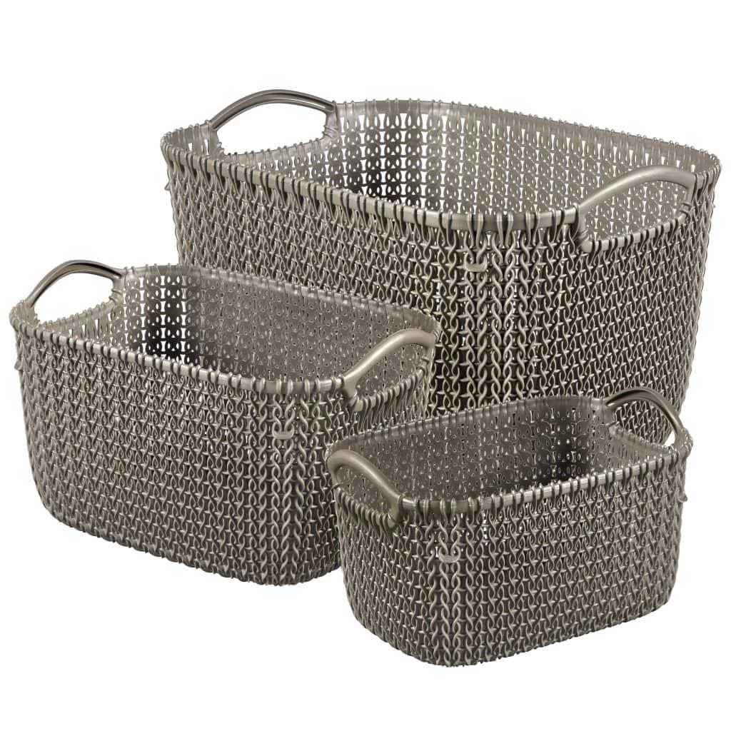 Curver Set de coșuri Knit, 3 buc., maro, 240650 vidaxl.ro