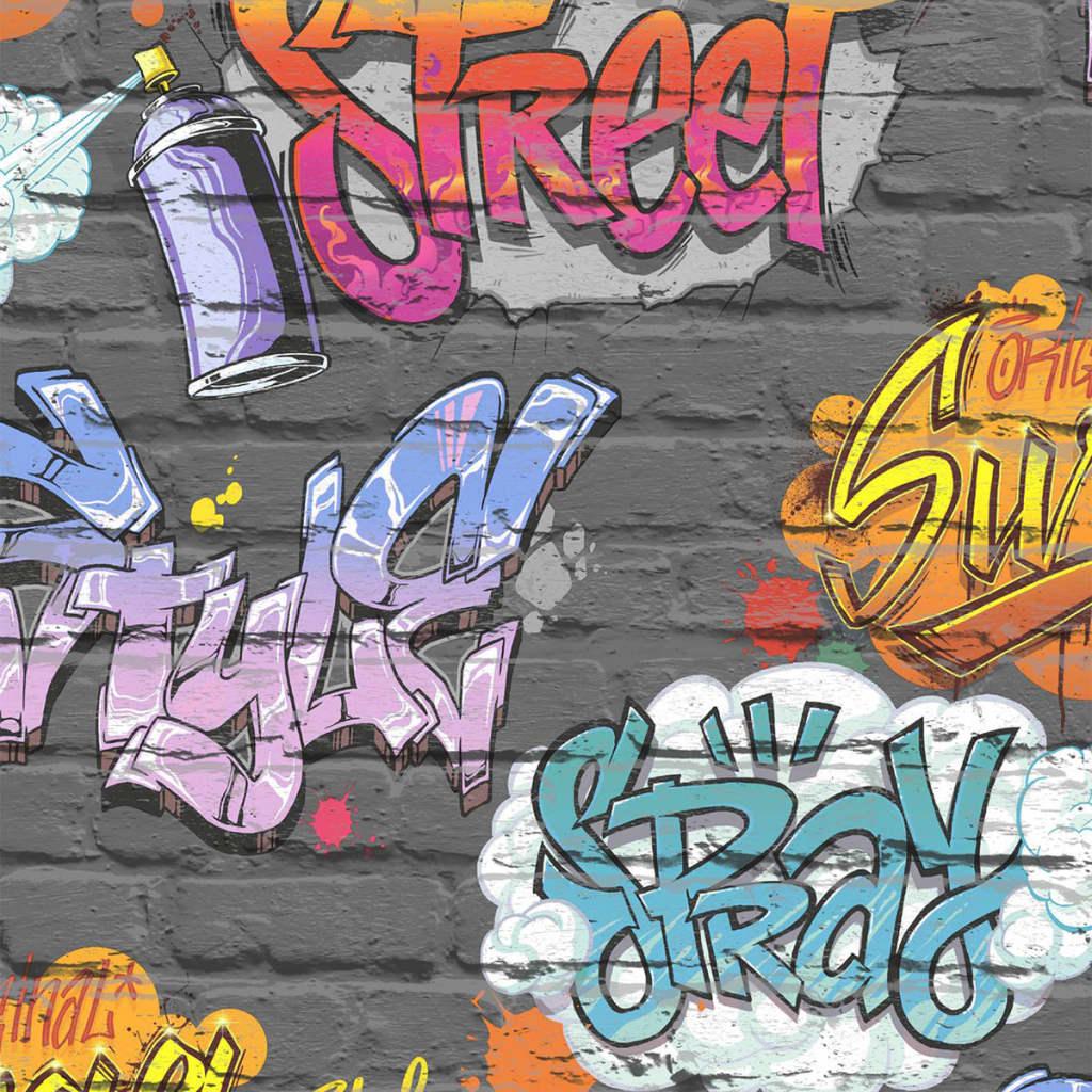 Afbeelding van DUTCH WALLCOVERINGS Behang graffiti meerkleurig L179-01