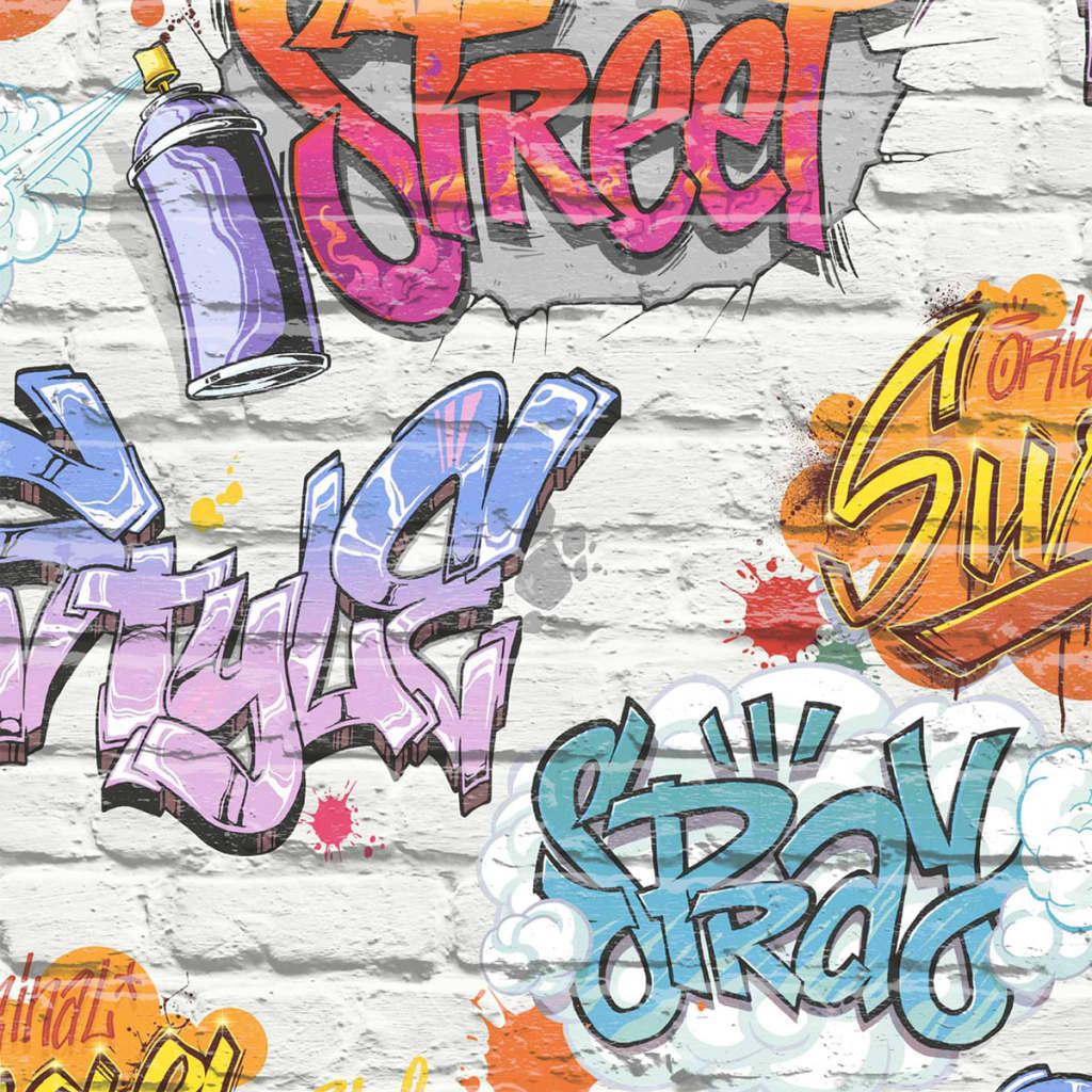 Afbeelding van DUTCH WALLCOVERINGS Behang graffiti meerkleurig L179-05