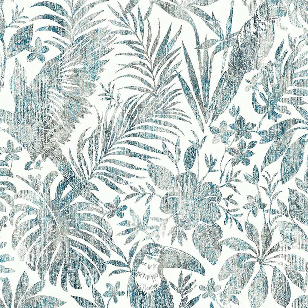 DUTCH WALLCOVERINGS Tapet model frunze și pasărea tucan, albastru vidaxl.ro