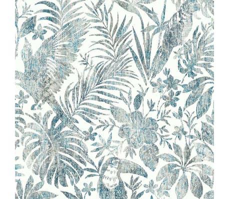 DUTCH WALLCOVERINGS Tapet model frunze și pasărea tucan, albastru