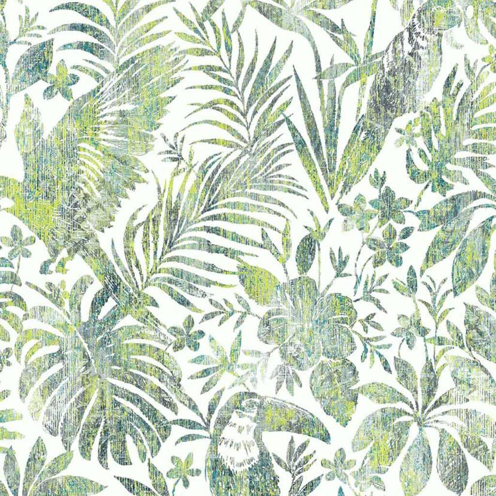 DUTCH WALLCOVERINGS Tapet model frunze și pasărea tucan, verde vidaxl.ro