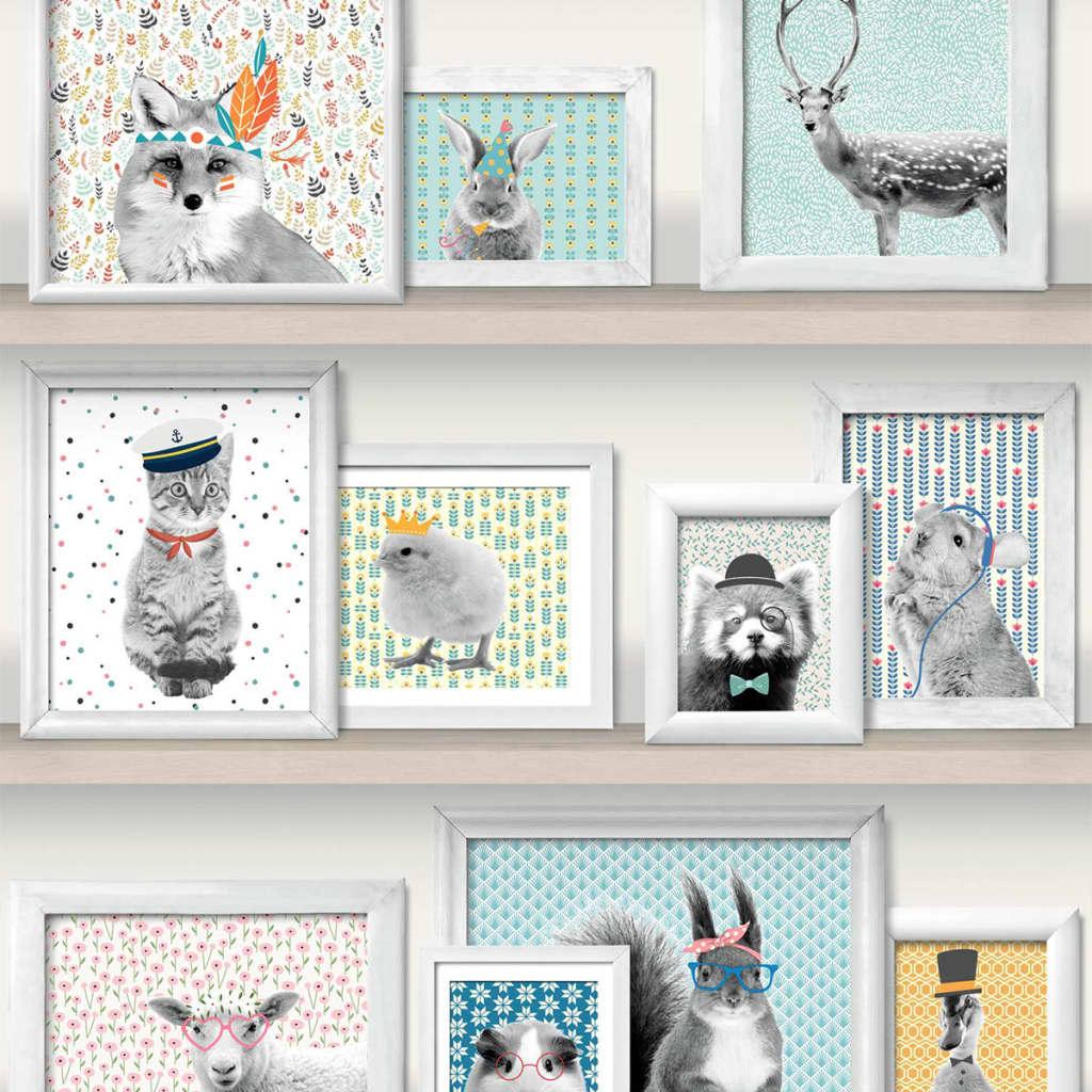 Afbeelding van DUTCH WALLCOVERINGS Behang dierenfotolijstjes meerkleurig L325-01