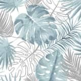 DUTCH WALLCOVERINGS Tapetai, mėlynos spalvos, su monstera lapais