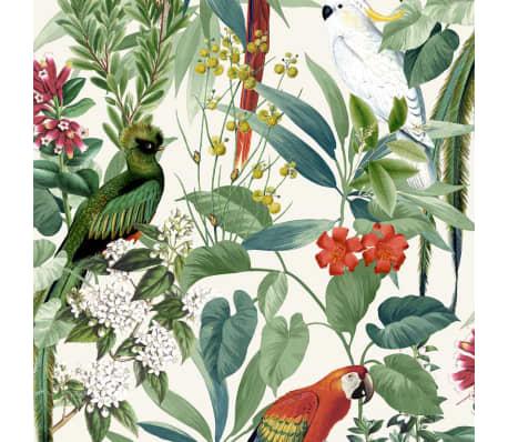 DUTCH WALLCOVERINGS Tapet păsări tropicale, alb și verde