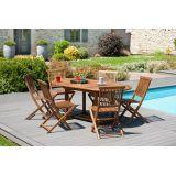 Salon jardin n°101-table120/180 x 90 cm 6 chaises en teck