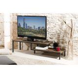 Meuble tv 2 tablettes bois et métal