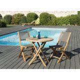 Salon jardin n°126-table pliante 80*80cm et 1 lot de 2 chaises-taupe
