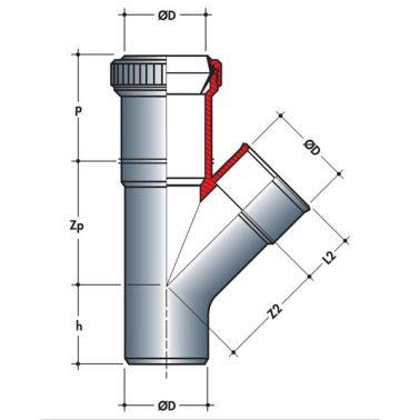 Embranchement parallèle dilatation mf 45° Ø63/40[2/2]