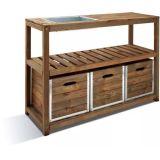 Table de préparation en bois et acier galva Choko