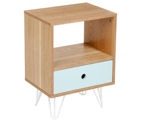 acheter atmosphera table de chevet shulg 1 tiroir bleu pas. Black Bedroom Furniture Sets. Home Design Ideas