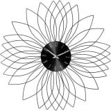 Atmosphera-Pendule métal fleur noir Ø 50 cm