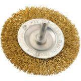 Brosse circulaire acier laitonnée ondulé sur tige - 75 mm - SCID