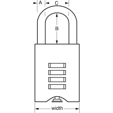 Master Lock Combinatie hangslot 50 mm massief messing 651EURD[3/3]
