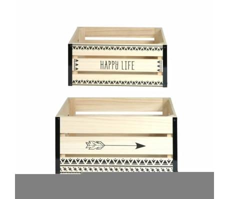 2 Cagettes de rangement Happy Life - 40 x 30 cm - Beige[1/4]