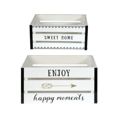 2 Cagettes de rangement Enjoy - 40 x 30 cm - Blanc[1/4]