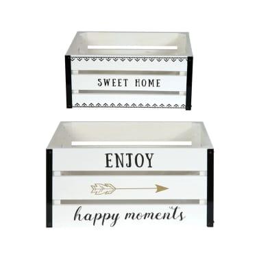 2 Cagettes de rangement Enjoy - 40 x 30 cm - Blanc[2/4]