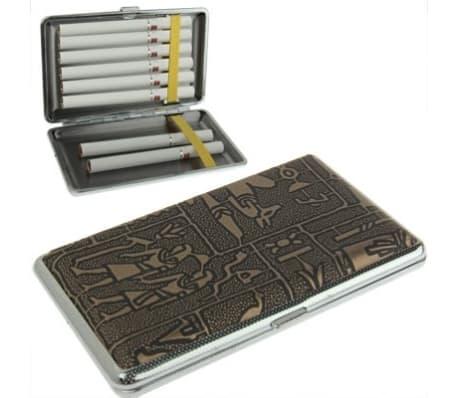 Boite à Cigarette noir Métal élégant + étui à cigarettes en cuir motif[1/4]