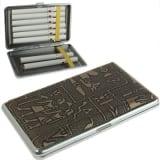 Boite à Cigarette noir Métal élégant + étui à cigarettes en cuir motif