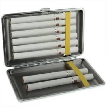 Boite à Cigarette noir Métal élégant + étui à cigarettes en cuir motif[3/4]