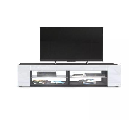 meuble tv noir mat fa ades en blanc laqu es led blanc. Black Bedroom Furniture Sets. Home Design Ideas