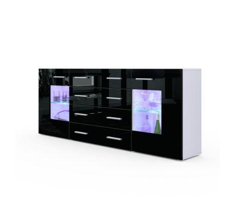 Buffet design blanc mat et noir laqué avec led 166 cm | vidaXL.fr