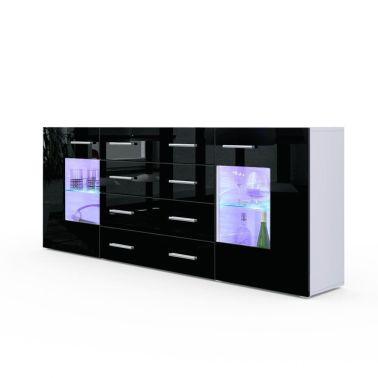 Buffet design blanc mat et noir laqué avec led 166 cm