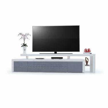 Acheter Meuble Tv Blanc Gris Laqué 227 Cm Pas Cher Vidaxlfr