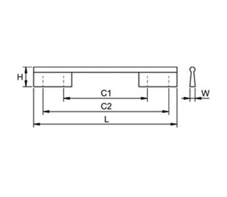 Poignée de meuble TAMM longueur de 140 mm façon inox[4/4]