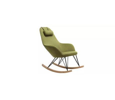 Sedia A Dondolo Tessuto.Poltrona Relax Sedia A Dondolo Tessuto Verde Gambe In Metallo E