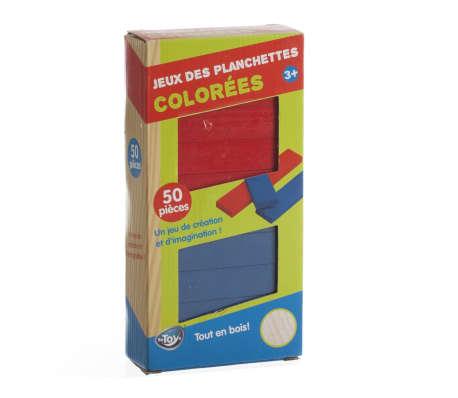 Jeu de construction en bois - 50 Planchettes colorées[1/1]
