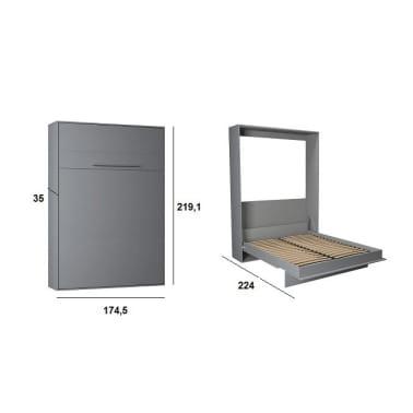 Armoire lit escamotable KOMPACT Ouverture assistée, coloris gris mat[4/5]