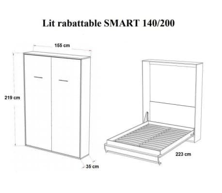 Armoire lit escamotable SMART-V2 blanc mat couchage 140*200 cm.[5/7]